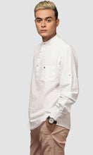 Load image into Gallery viewer, Men White Chinese Collar Cotton Kurta Shirts