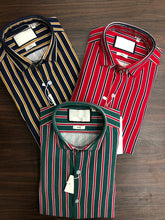 Load image into Gallery viewer, Men Striped Knitted Slim Fit Shirts