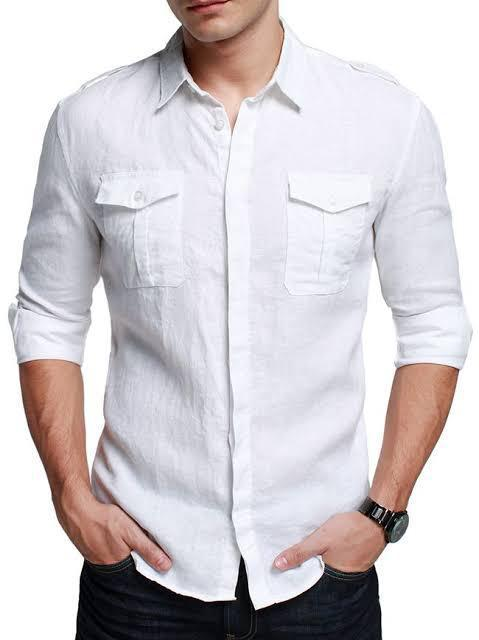Men Double Pocket Solid Casual Shirts