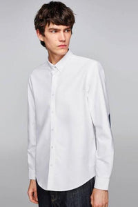 Men Elbow Patch Solid Shirt