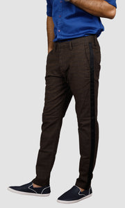Men Checked Side Stripe Chinos