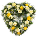Open Heart Yellow (other colour options available). A selection of calming greenery forms the base of this mixed open heart tribute, solidaster, nigella and asparagus fern create a delicate finish. Get fresh flowers from Flowers.IE. Same day flower delivery available.