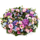 Summer Reflection Wreath. Larkpsur, hydrangeas, delphiniums, sedum, nigella, roses and lisianthus. Get fresh flowers from Flowers.IE. Same day flower delivery available.
