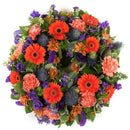 Purple & Orange Reflection Wreath. Have fresh flowers sent to you by Flowers.IE. Same day flower delivery available.
