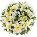 Lemon & White Reflection Wreath. Have fresh flowers sent to you by Flowers.IE. Same day flower delivery available.