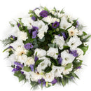 Purple & White Reflection Wreath. Have fresh flowers sent to you by Flowers.IE. Same day flower delivery available.