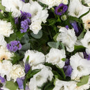 Purple & White Reflection Wreath. Elegant wreath. Send fresh flowers with Flowers.IE. Same day flower delivery available.