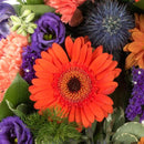 Purple & Orange Reflection Wreath. Wreath, statice, carnations and gerberas. Get fresh flowers from Flowers.IE. Same day flower delivery available.