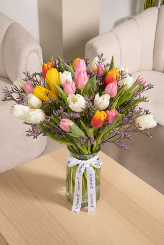 Mixed Tulips in a Vase