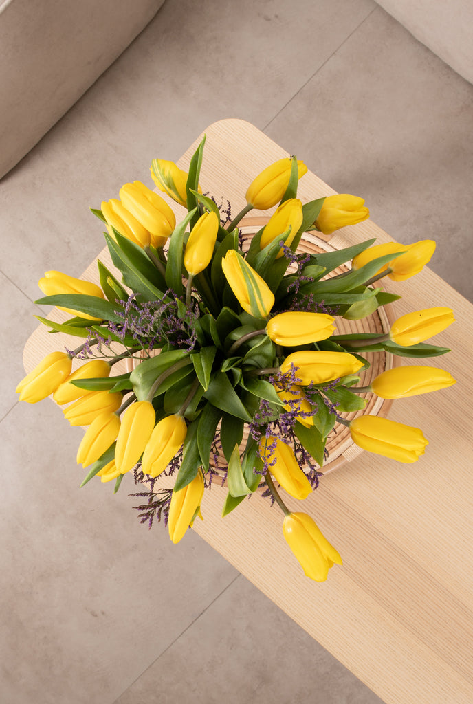 Yellow Tulips in a Vase - with Organic White Wine