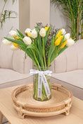 White & Yellow Tulips in a Vase