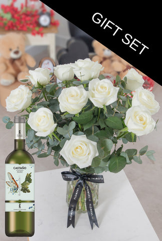 One Dozen Long Stem White Rose in a vase with White wine