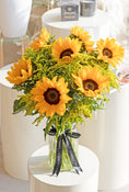 Sunflowers in a Vase - with Teddy Bear and Lily O'Brien Crispy Hearts chocolates