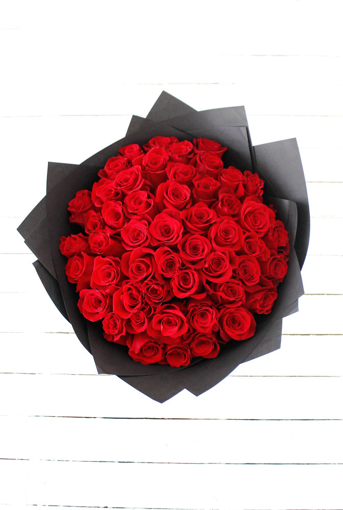 50 Long Stem Red Roses Hand-tied