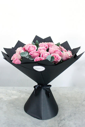 25 Long Stem Pink Roses Hand-tied