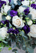 Classic Wreath Purple & White. 55cm. Have fresh flowers sent to you by Flowers.IE. Same day flower delivery available.
