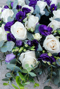 Classic Wreath Purple & White. Standard variant. Get fresh flowers from Flowers.IE. Same day flower delivery available.