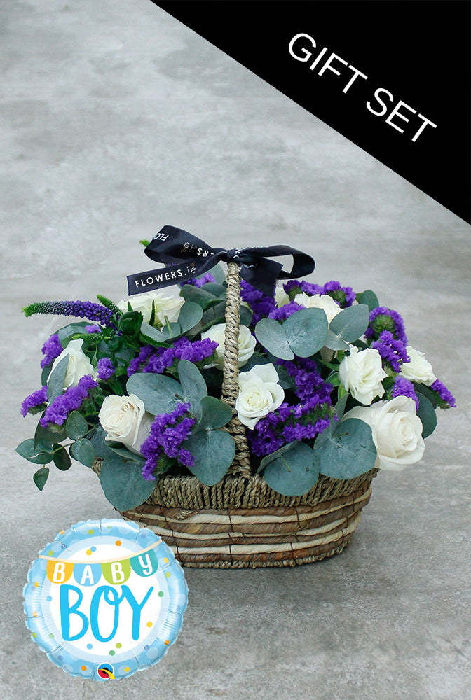 Blue Lullaby Basket with Balloon