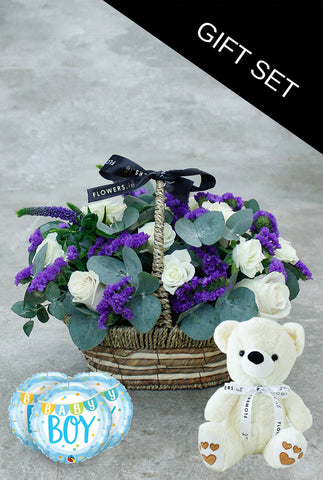 Blue Lullaby Basket with Teddy and Balloons (3)