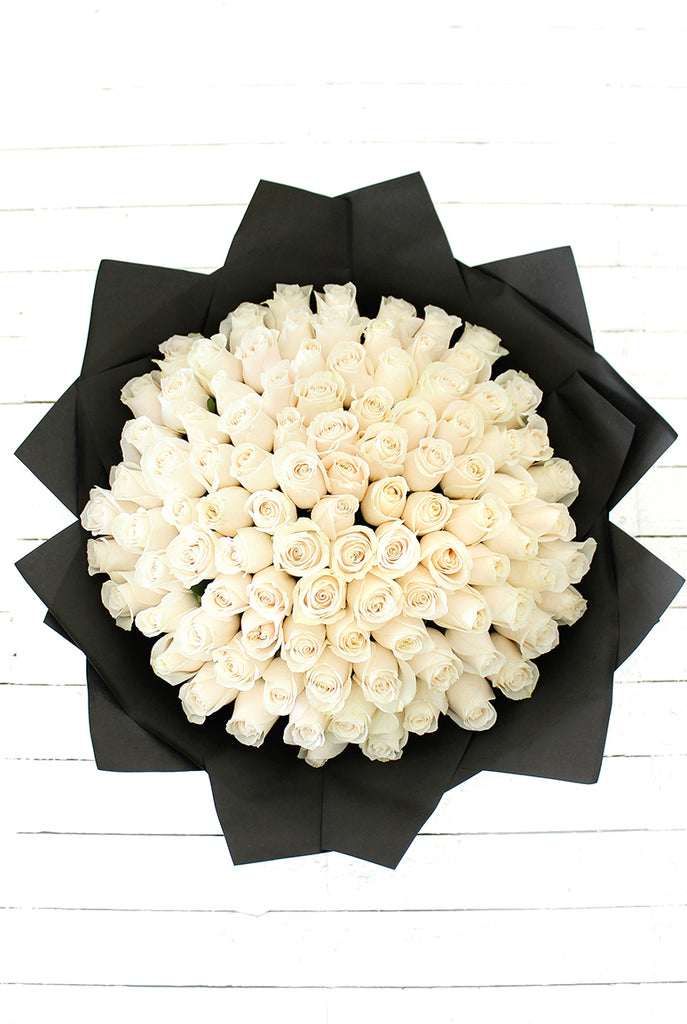 100 Long Stem White Rose Hand-tied