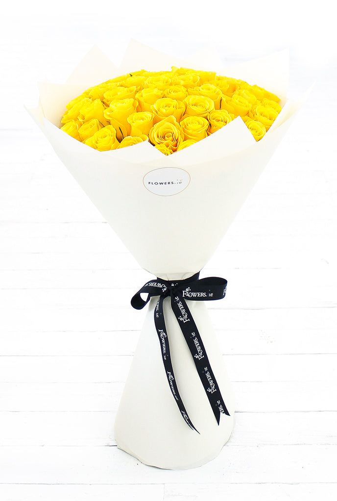 50 Yellow Roses Hand-Tied