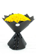 100 Long Stem Yellow Rose Hand-tied. Rose Bouquet in black packaging. Get fresh flowers from Flowers.IE. Same day flower delivery available.