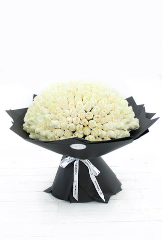 365 Long Stem White Roses Hand-tied