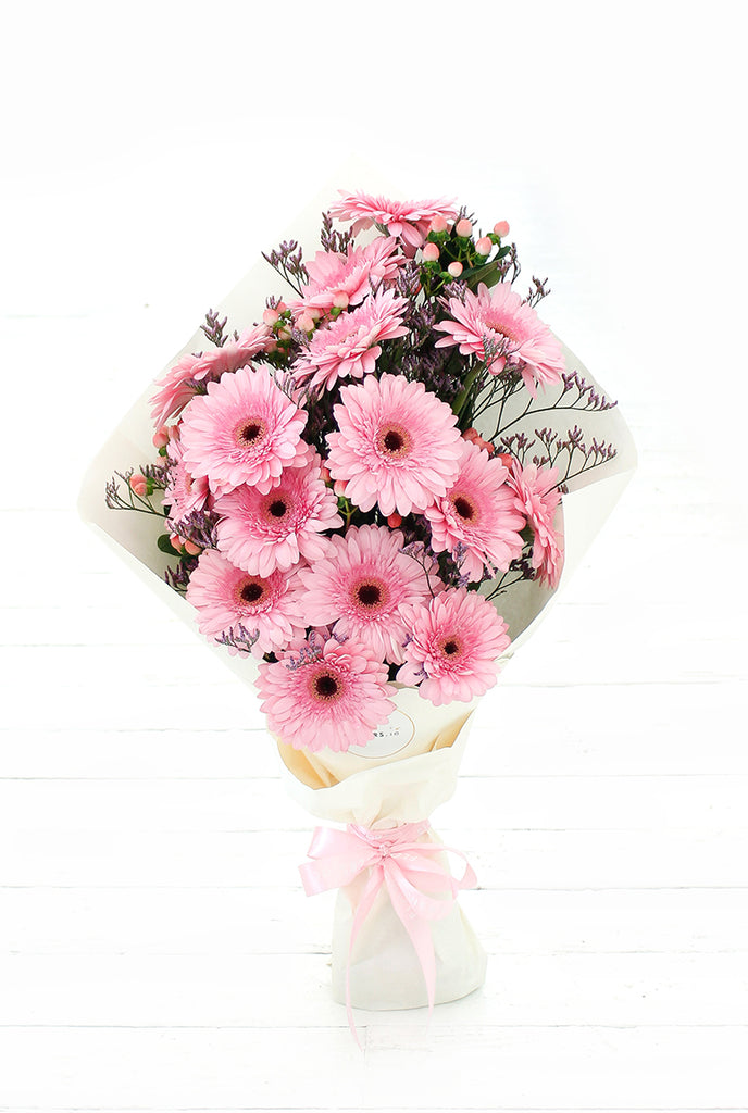 Pink Gerbera Hand-tied- Free Chocolates for November