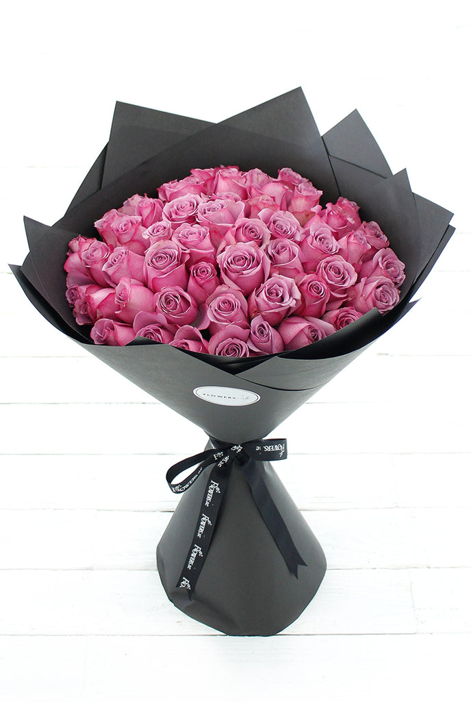 50 Long Stem Purple Roses Hand-Tied