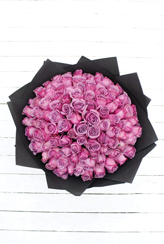 100 Long Stem Purple Rose Hand-tied