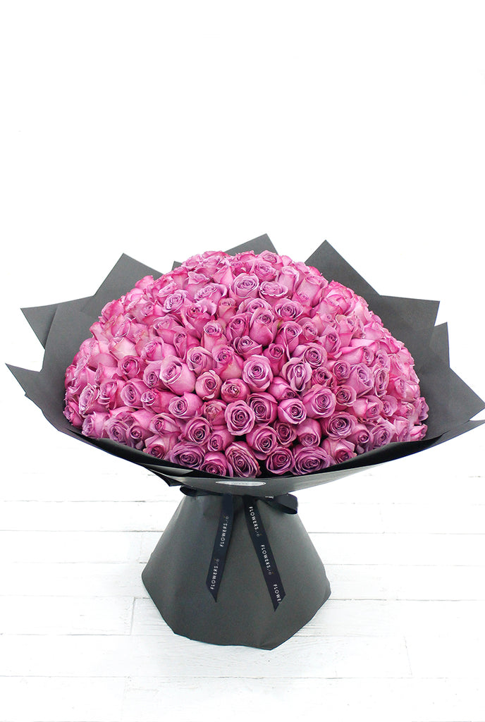 200 Long Stem Purple Roses Hand-tied