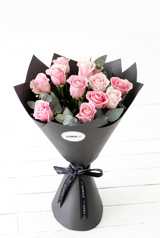 12 Long Stem Pink Roses Hand-tied