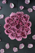 Purple Rose Hatbox. 13 Roses. Send fresh flowers with Flowers.IE. Same day flower delivery available.