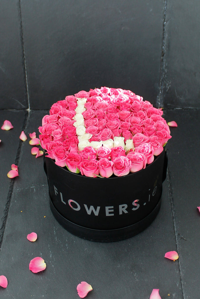 Small Pink Letter Hatbox Word Arrangement A to Z 21 cm width