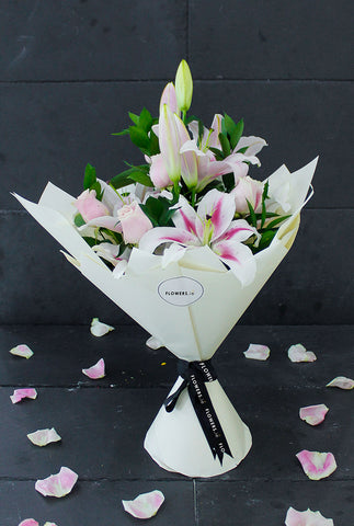 Pink Roses and Lily Hand-tied