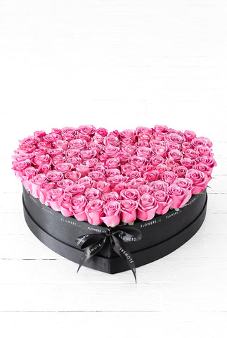 100 Purple Rose Heart