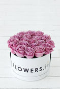 Purple Rose Hatbox. White Hatbox. Get fresh flowers from Flowers.IE. Same day flower delivery available.