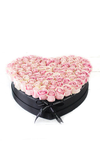 100 Pink Rose Heart