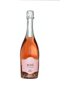 Baby Girl Hatbox with Pink Prosecco wine. Bottle of Ca' di Alte, Rosato Spumante, a fresh, fruity, and complex sparkling rosé from the Veneto region of Italy. Send fresh flowers with Flowers.IE. Same day flower delivery available.