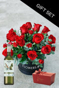 Dozen Red Deluxe Hatbox with Chocolates & Wine. Gift Set. Get fresh flowers from Flowers.IE. Same day flower delivery available.