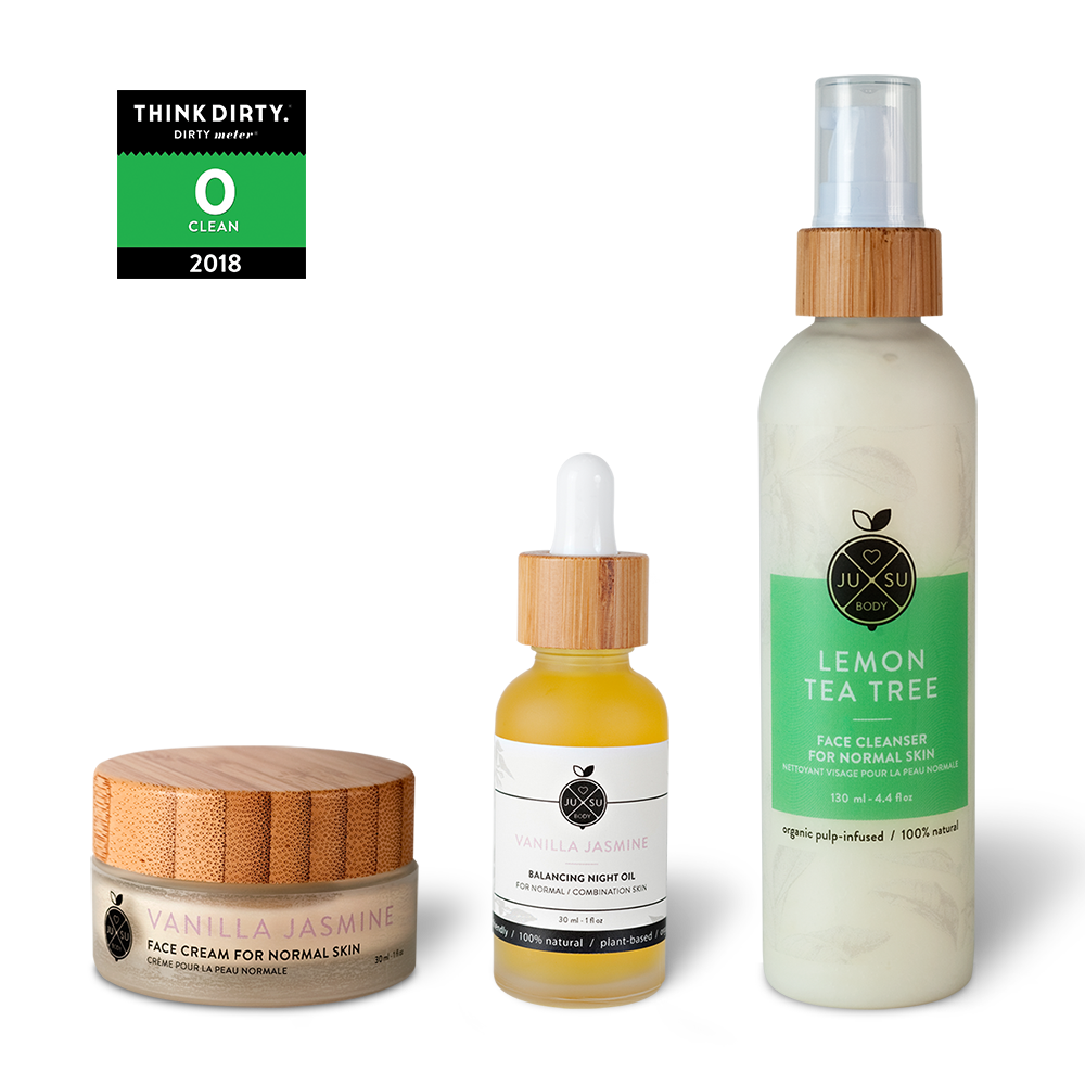 plant-based combination skin, natural skincare, nontoxic face products, gentle nontoxic cleanser, vanilla jasmine face cream, soothing facial night oil