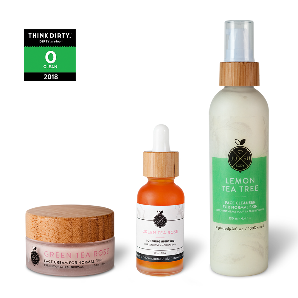 plant-based sensitive skincare, nontoxic face products, gentle nontoxic cleanser, green tea rose face cream, nourishing facial night oil