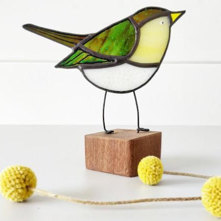 Stained Glass Bird on a Block 'Wood Warbler'