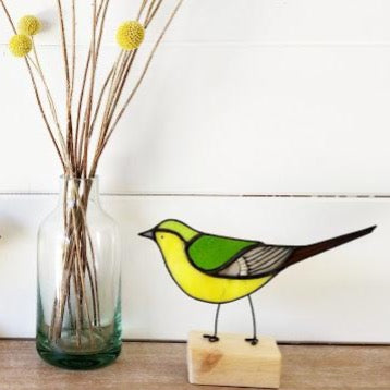 Stained Glass Bird on a Block 'Yellow Wagtail'