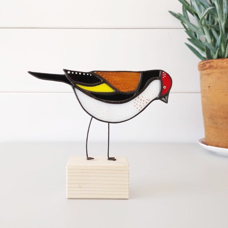 Stained Glass Bird on a Block 'Goldfinch'