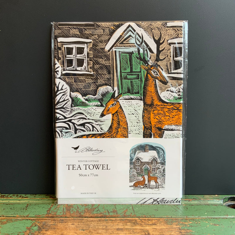 Angela Harding Tea Towel 'Winter Cottage'