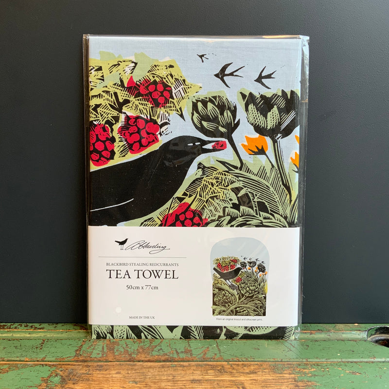 Angela Harding Tea Towel 'Blackbird Stealing Redcurrants'