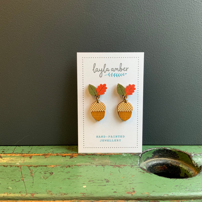 In Bloom Drop Stud Earrings 'Autumn Acorn'