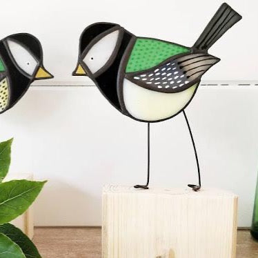 Stained Glass Bird on a Block 'Great Tit'