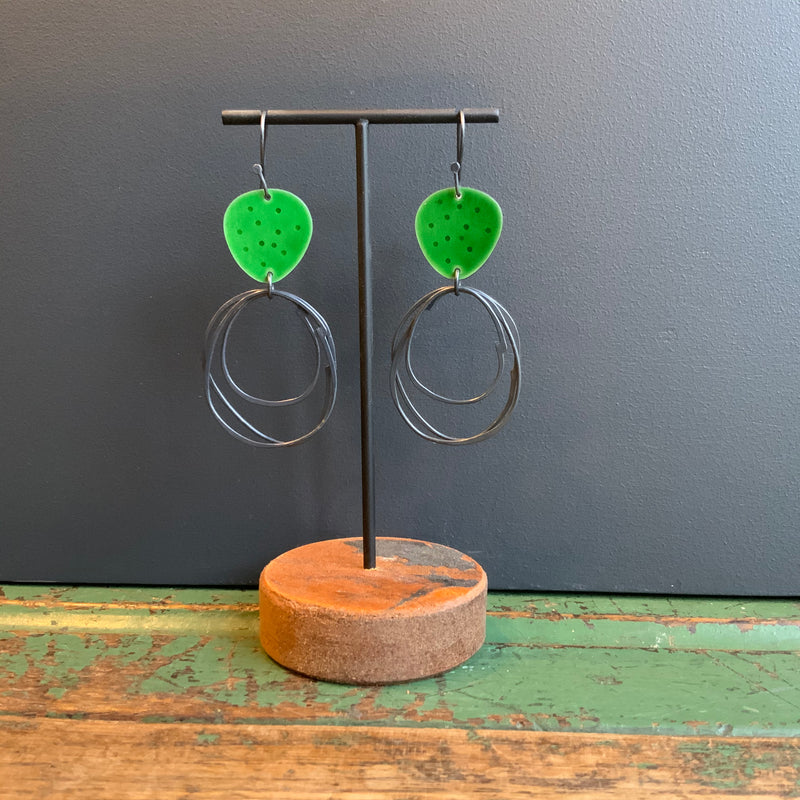 Flotsam Earrings with Loops 'Green'